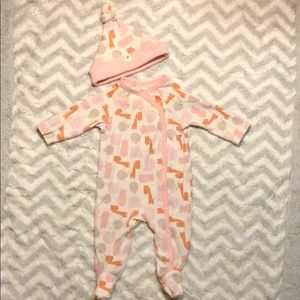 Giggle Baby PJs with Matching Hat
